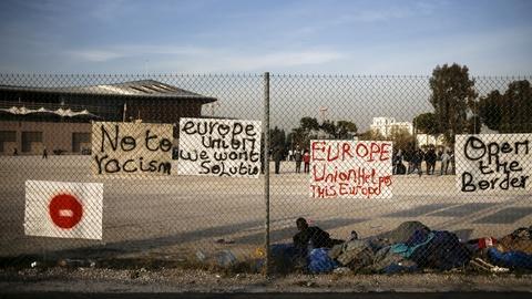 PBS NewsHour -- Roadblock creates bottleneck of stranded migrants in Greece
