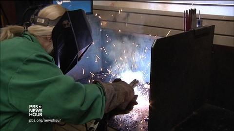 PBS NewsHour -- The only girl in school to spark an interest in welding