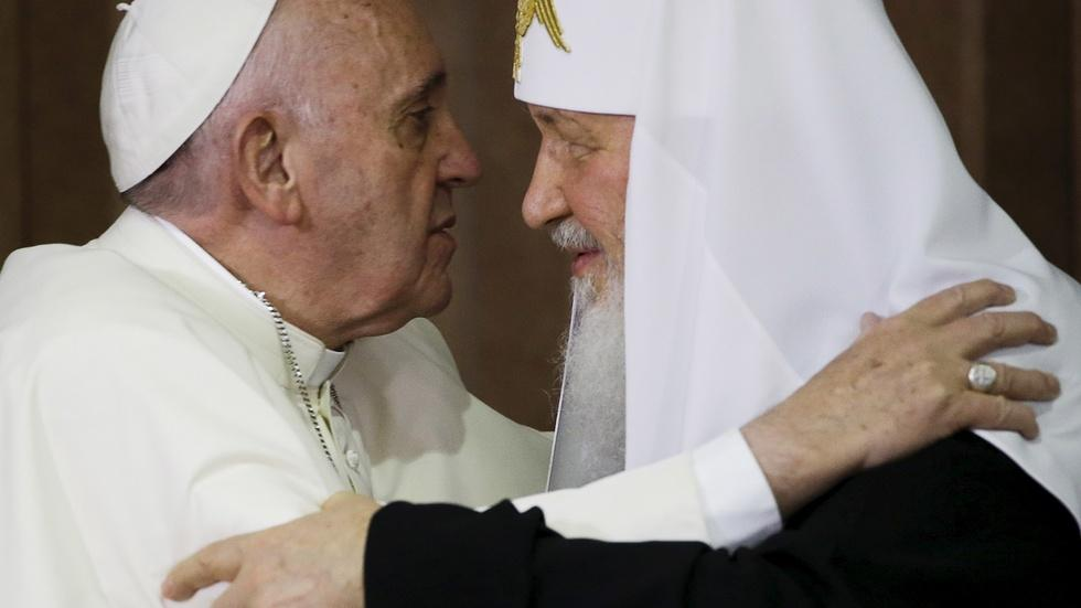 Pope and patriarch meet for first time in nearly 1,000 years image