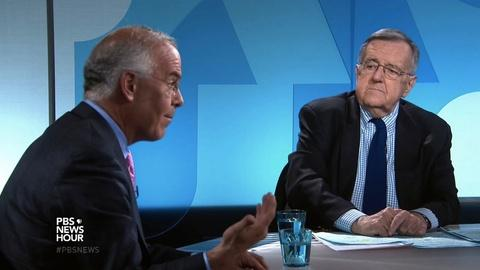 PBS NewsHour -- Shields and Brooks on front-runner support sagging in Wisc.