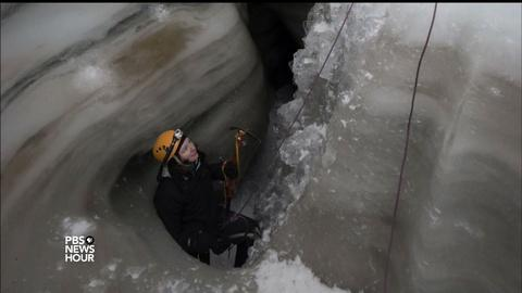 PBS NewsHour -- Scientist chases waterfalls in depths of vast glaciers