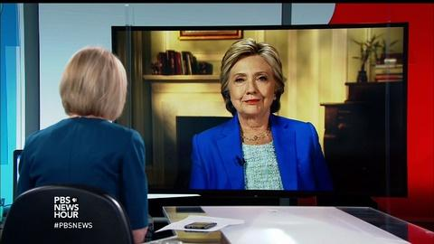 """PBS NewsHour -- After historic victory, Clinton on """"great threat"""" of Trump"""