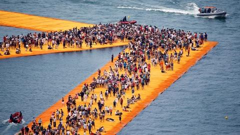 PBS NewsHour -- These floating piers let visitors walk on water