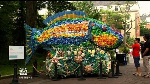 PBS NewsHour -- Turning plastic ocean pollution into sea-saving art