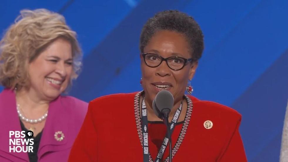 Rep. Marcia Fudge speaks at the 2016 DNC image