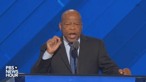 PBS NewsHour -- Rep. John Lewis seconded the nomination for Hillary Clinton