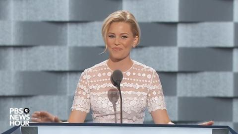 PBS NewsHour -- Actress Elizabeth Banks voices Clinton support at 2016 DNC