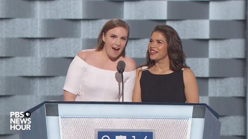 Actresses America Ferrera and Lena Dunham speak at DNC image