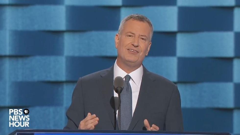 New York City Mayor Bill de Blasio's speech at the 2016 DNC image