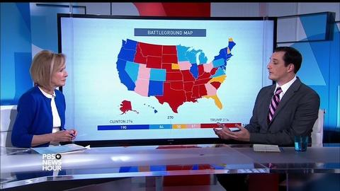 PBS NewsHour -- Battleground map shows how Clinton and Trump could win