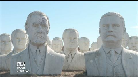 PBS NewsHour -- These giant sculptures bring new meaning to 'heads of state'