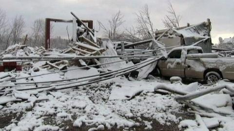 PBS NewsHour -- Snow, Cold Hinder Midwest's Recovery Efforts After Tornadoes