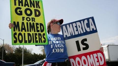 PBS NewsHour -- Westboro Baptist Church Members Protest at Utah High School