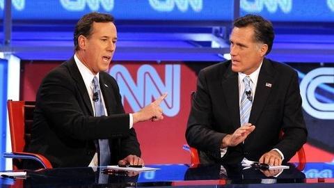PBS NewsHour -- Romney, Santorum Clash Over Conservative Values, Earmarks