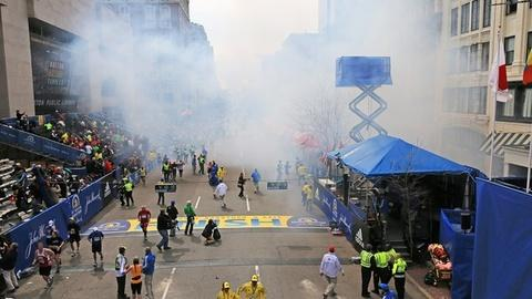 PBS NewsHour -- Spectators, Runners Disperse After Deadly Boston Blasts