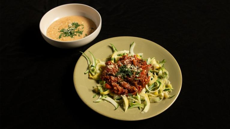 Fit to Eat: Vegetable Bolognese Pasta with Garlic Soup