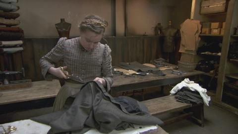 Victorian Slum House -- Russell Struggles with Tailoring