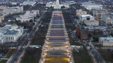 Unusual imagery for an inauguration without precedent