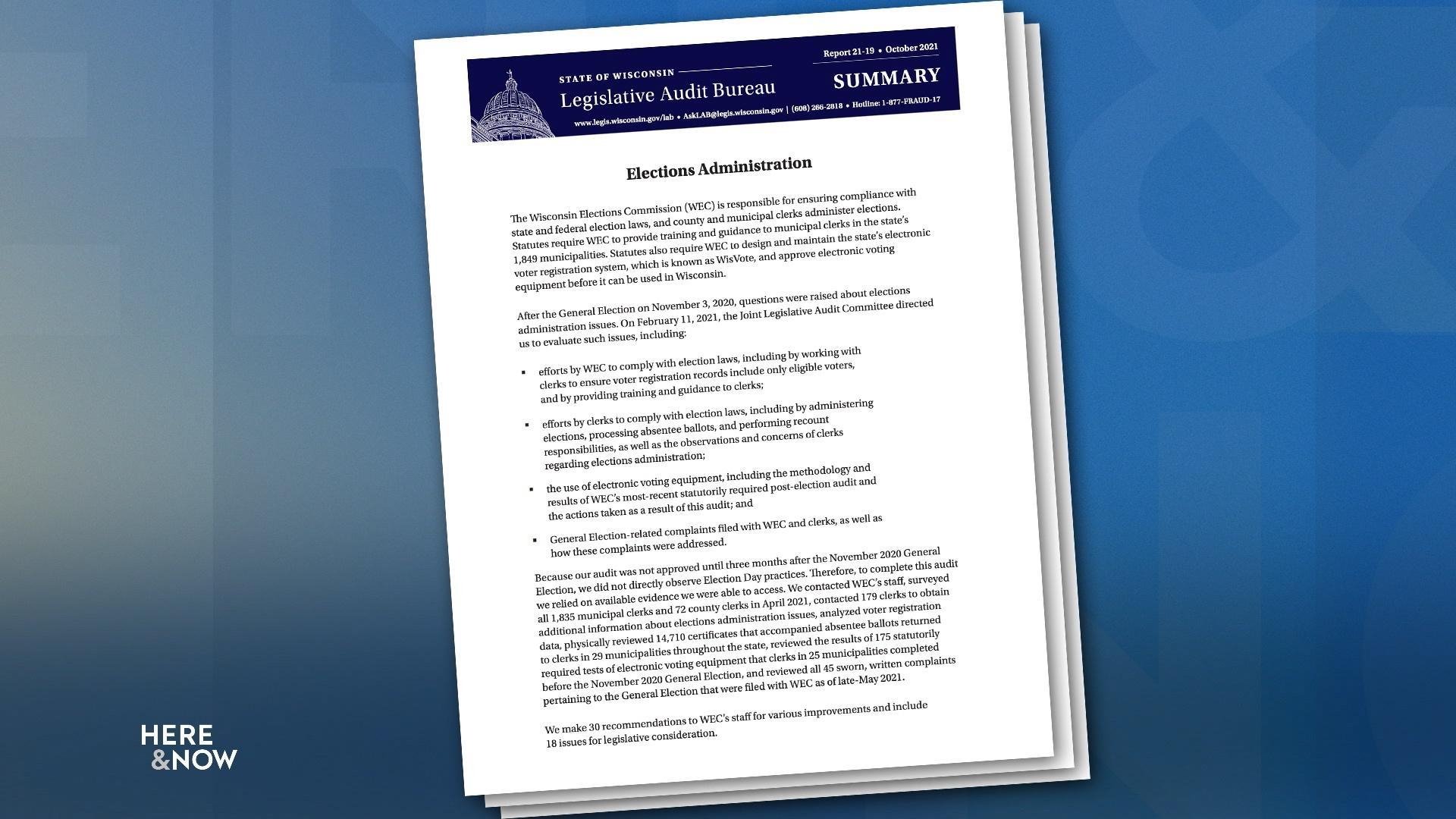 Legislative Audit Bureau Releases 2020 Election Review