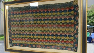 Appraisal: 1761 Flame-stitched Tablecloth