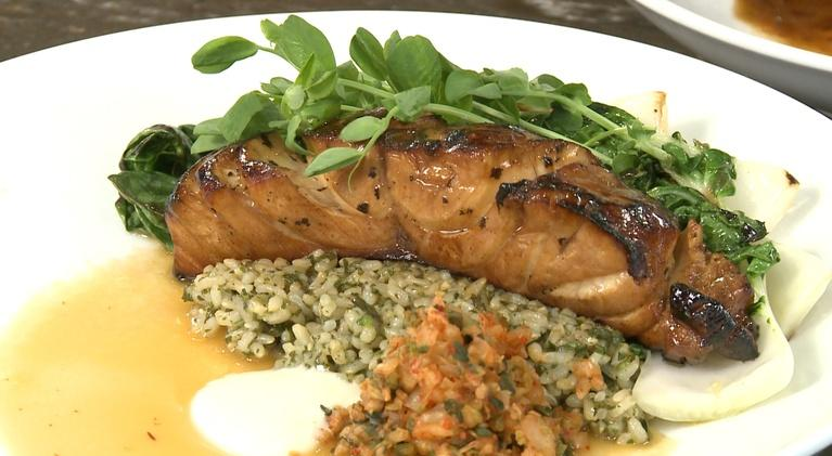 Charlotte Cooks: Tentsuyu Marinated Grouper, Shiso Chimi, Brown Rice and Choi