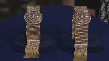 Appraisal: Victorian Gold Garter Bracelets, ca. 1870