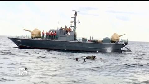 PBS NewsHour -- Elephant out for a swim gets emergency rescue at sea